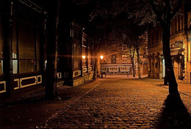 tmavá ulice lemovaná stromy